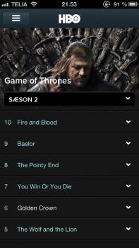 HBO Nordic iOS app
